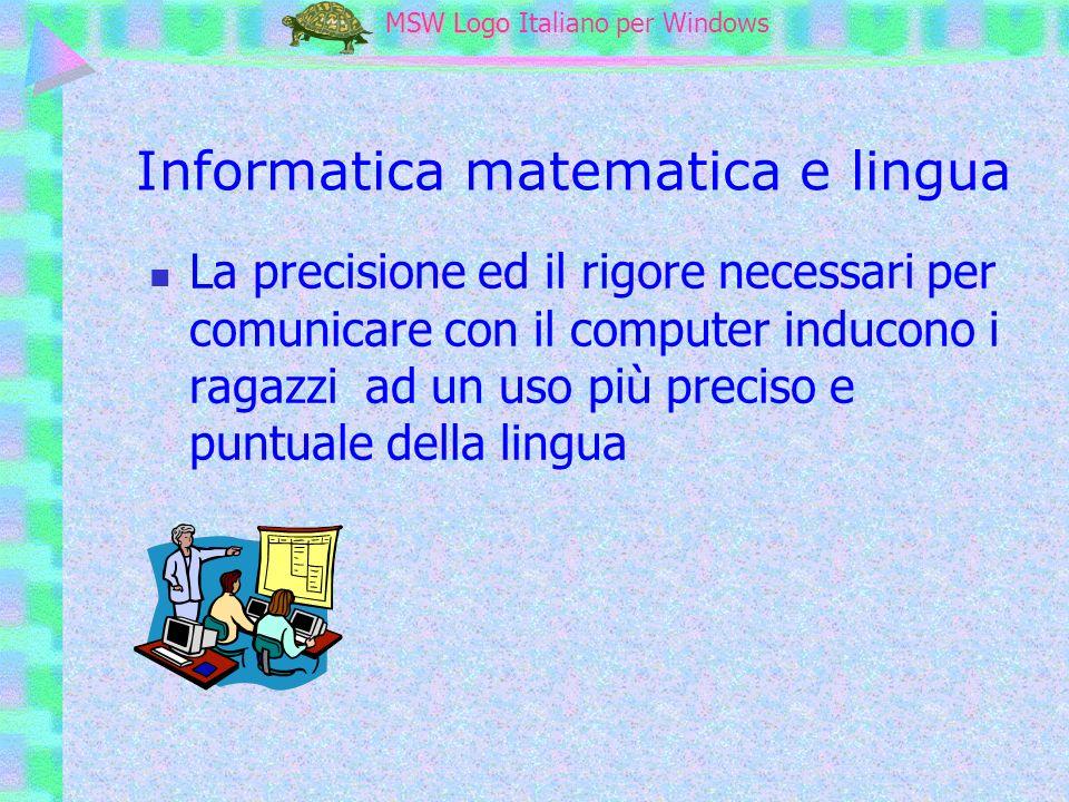MSW Logo MSW Logo Italiano per Windows Imparo facendo avanti argomenti insufficienti per avanti avanti 40 indietro 80 avanti 40 Nella riga in basso scrivere il comando e premere INVIO