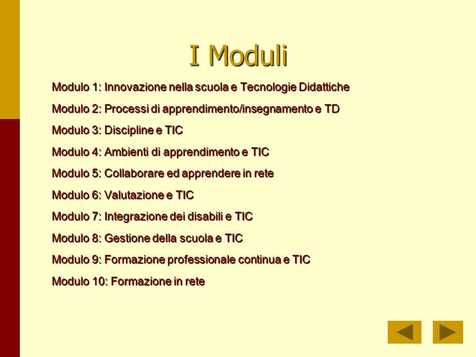 I Moduli Modulo 1: Innovazione nella scuola e Tecnologie Didattiche Modulo 2: Processi di apprendimento/insegnamento e TD Modulo 3: Discipline e TIC Modulo 4: Ambienti di apprendimento e TIC Modulo 5: Collaborare ed apprendere in rete Modulo 6: Valutazione e TIC Modulo 7: Integrazione dei disabili e TIC Modulo 8: Gestione della scuola e TIC Modulo 9: Formazione professionale continua e TIC Modulo 10: Formazione in rete