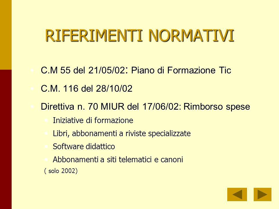 RIFERIMENTI NORMATIVI C.M 55 del 21/05/02 : Piano di Formazione TicC.M 55 del 21/05/02 : Piano di Formazione Tic C.M.