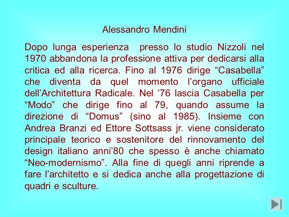 Dopo lunga esperienza presso lo studio Nizzoli nel 1970 abbandona la professione attiva per dedicarsi alla critica ed alla ricerca.