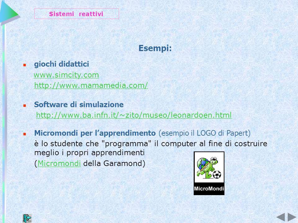 Esempi: giochi didattici www.simcity.com http://www.mamamedia.com/ Software di simulazione http://www.ba.infn.it/~zito/museo/leonardoen.html Micromondi per lapprendimento (esempio il LOGO di Papert) è lo studente che programma il computer al fine di costruire meglio i propri apprendimenti (Micromondi della Garamond)Micromondi Sistemi reattivi