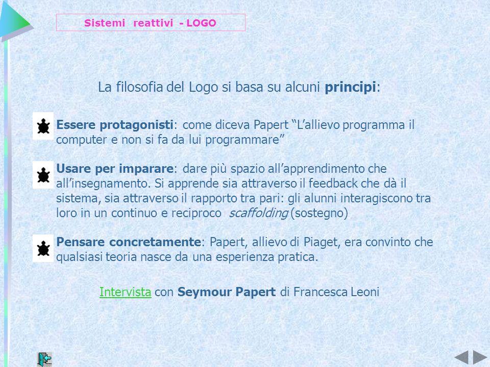 La filosofia del Logo si basa su alcuni principi: Essere protagonisti: come diceva Papert Lallievo programma il computer e non si fa da lui programmare Usare per imparare: dare più spazio allapprendimento che allinsegnamento.