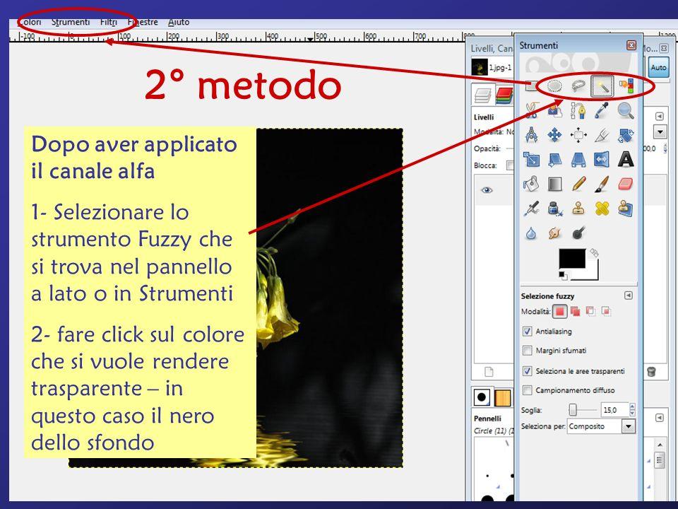 2° metodo Dopo aver applicato il canale alfa 1- Selezionare lo strumento Fuzzy che si trova nel pannello a lato o in Strumenti 2- fare click sul colore che si vuole rendere trasparente – in questo caso il nero dello sfondo