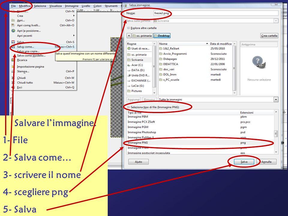 Salvare limmagine: 1- File 2- Salva come… 3- scrivere il nome 4- scegliere png 5- Salva
