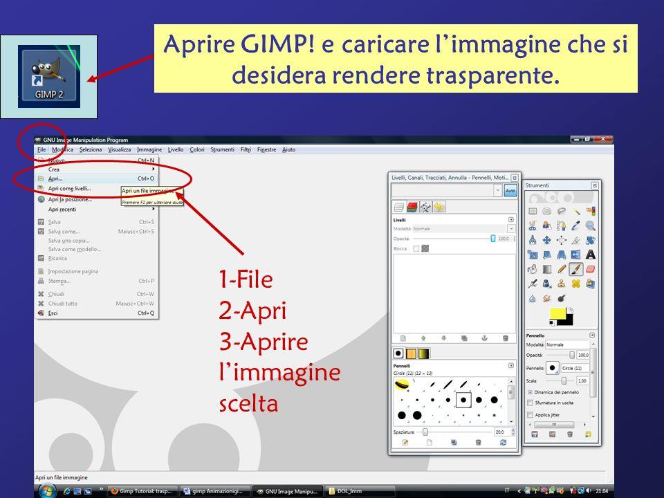 1-File 2-Apri 3-Aprire limmagine scelta Aprire GIMP! e caricare limmagine che si desidera rendere trasparente.