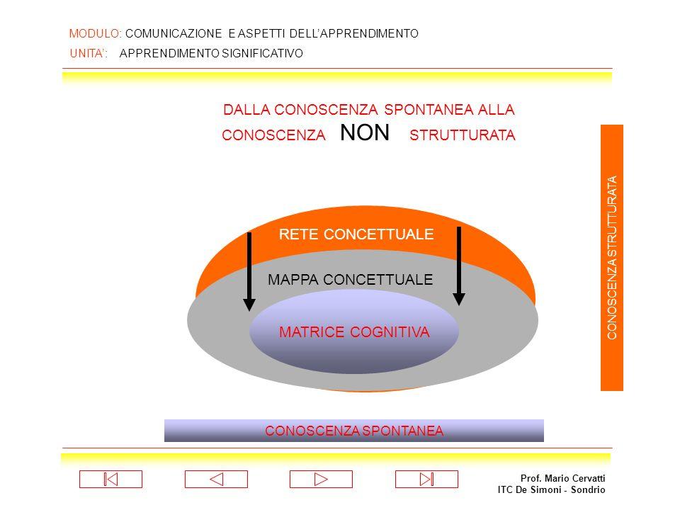 Prof. Mario Cervatti ITC De Simoni - Sondrio MODULO: COMUNICAZIONE E ASPETTI DELLAPPRENDIMENTO UNITA: APPRENDIMENTO SIGNIFICATIVO MATRICE COGNITIVA RE