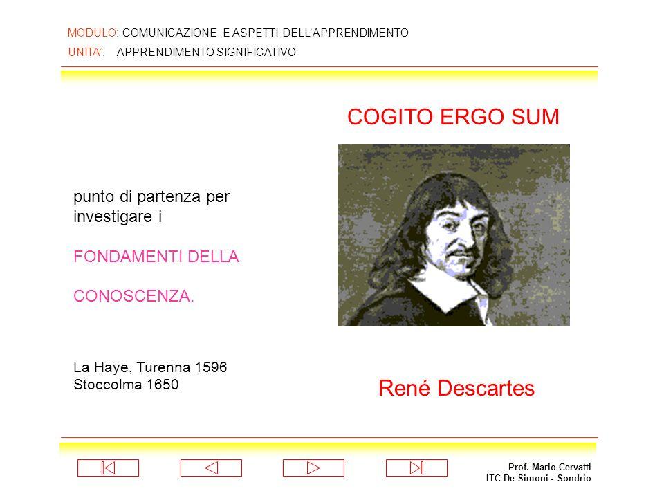 Prof. Mario Cervatti ITC De Simoni - Sondrio MODULO: COMUNICAZIONE E ASPETTI DELLAPPRENDIMENTO UNITA: APPRENDIMENTO SIGNIFICATIVO APPRENDIMENTO SIGNIF