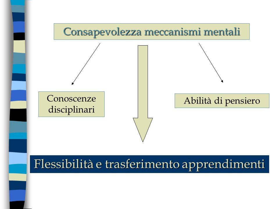 Conoscenze disciplinari Abilità di pensiero Flessibilità e trasferimento apprendimenti