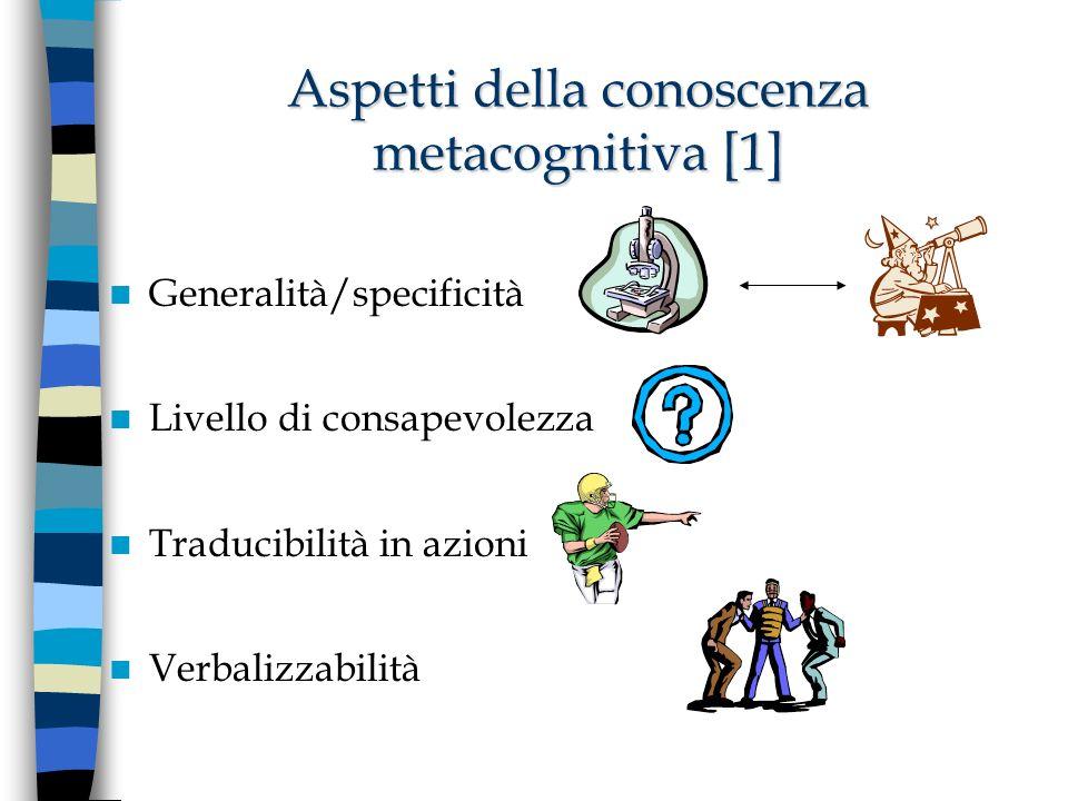 Aspetti della conoscenza metacognitiva [1] Generalità/specificità Livello di consapevolezza Traducibilità in azioni Verbalizzabilità