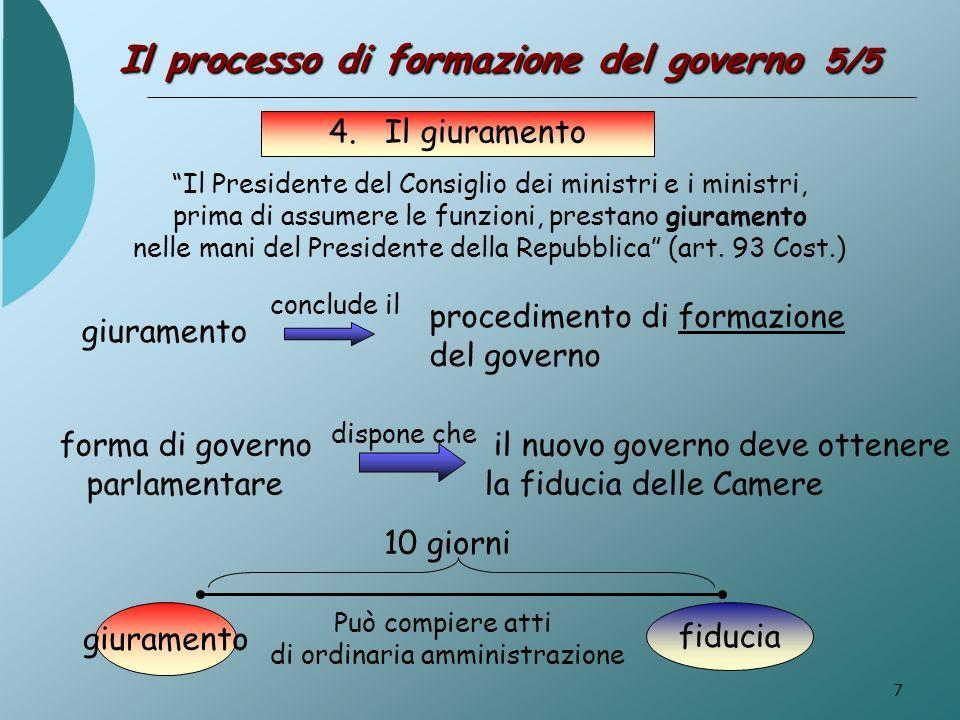 7 Il processo di formazione del governo 5/5 4. Il giuramento Il Presidente del Consiglio dei ministri e i ministri, prima di assumere le funzioni, pre