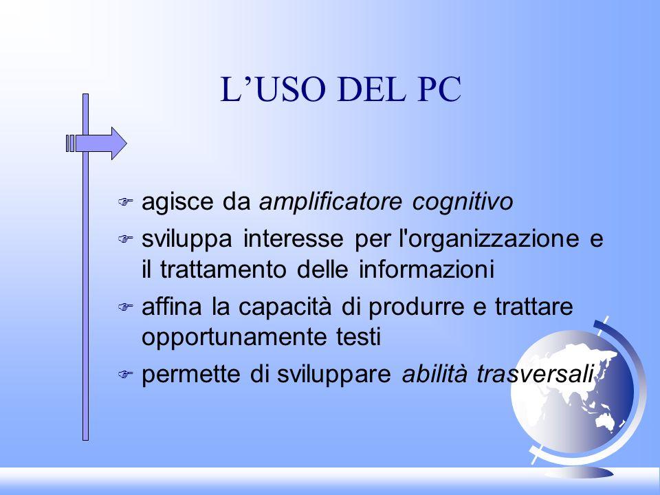 LUSO DEL PC F agisce da amplificatore cognitivo F sviluppa interesse per l'organizzazione e il trattamento delle informazioni F affina la capacità di