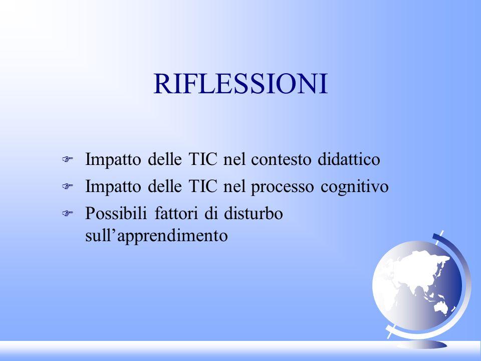 RIFLESSIONI F Impatto delle TIC nel contesto didattico F Impatto delle TIC nel processo cognitivo F Possibili fattori di disturbo sullapprendimento