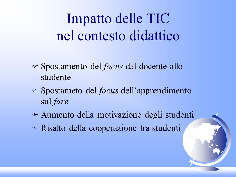 Impatto delle TIC nel contesto didattico F Spostamento del focus dal docente allo studente F Spostameto del focus dellapprendimento sul fare F Aumento della motivazione degli studenti F Risalto della cooperazione tra studenti