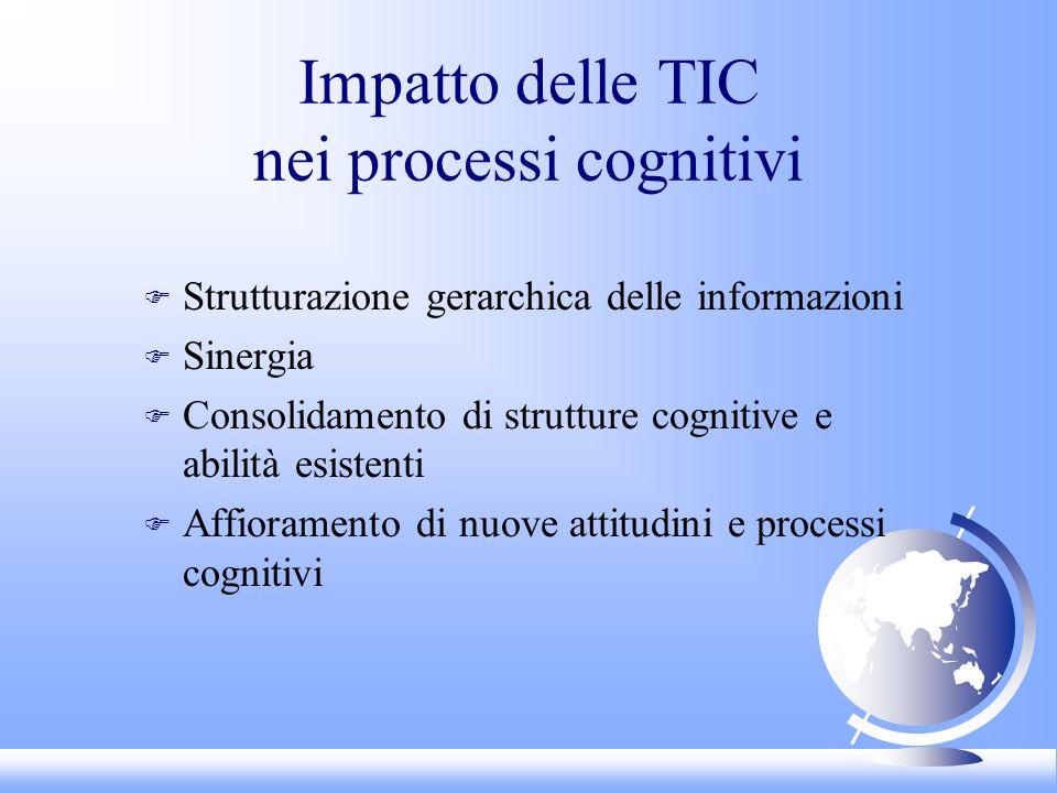 Impatto delle TIC nei processi cognitivi F Strutturazione gerarchica delle informazioni F Sinergia F Consolidamento di strutture cognitive e abilità esistenti F Affioramento di nuove attitudini e processi cognitivi