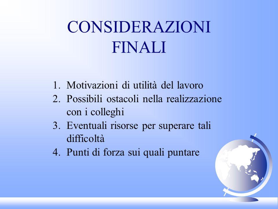 CONSIDERAZIONI FINALI 1.Motivazioni di utilità del lavoro 2.Possibili ostacoli nella realizzazione con i colleghi 3.Eventuali risorse per superare tal