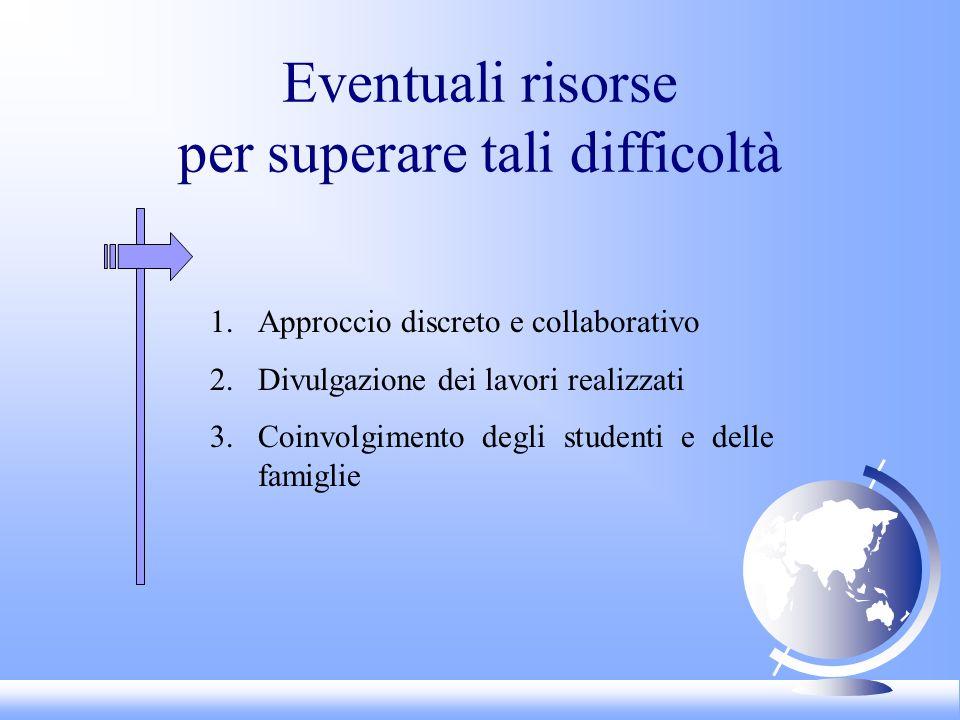 Eventuali risorse per superare tali difficoltà 1.Approccio discreto e collaborativo 2.Divulgazione dei lavori realizzati 3.Coinvolgimento degli studenti e delle famiglie