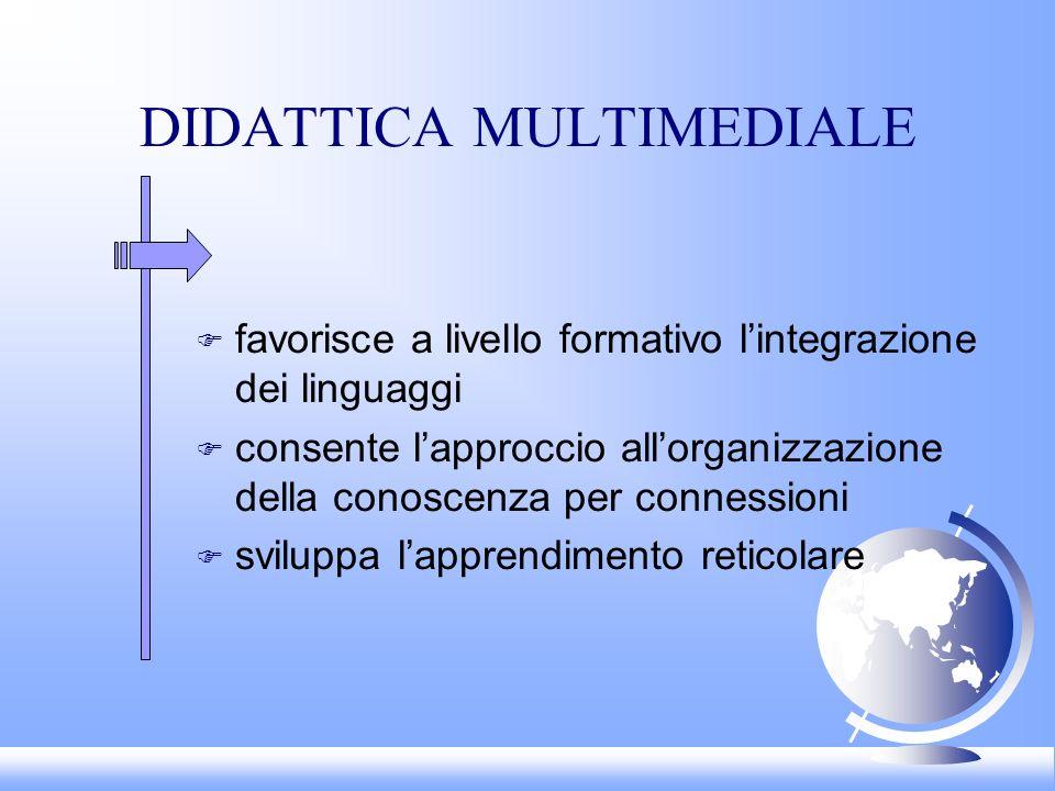 DIDATTICA MULTIMEDIALE F favorisce a livello formativo lintegrazione dei linguaggi F consente lapproccio allorganizzazione della conoscenza per connessioni F sviluppa lapprendimento reticolare