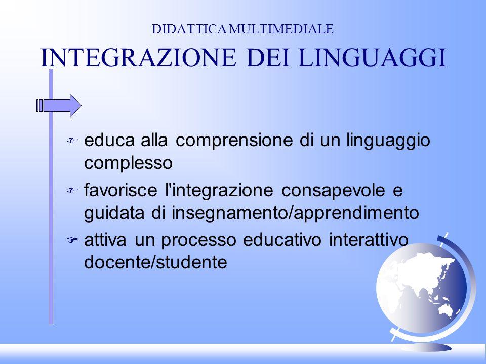 DIDATTICA MULTIMEDIALE INTEGRAZIONE DEI LINGUAGGI F educa alla comprensione di un linguaggio complesso F favorisce l integrazione consapevole e guidata di insegnamento/apprendimento F attiva un processo educativo interattivo docente/studente