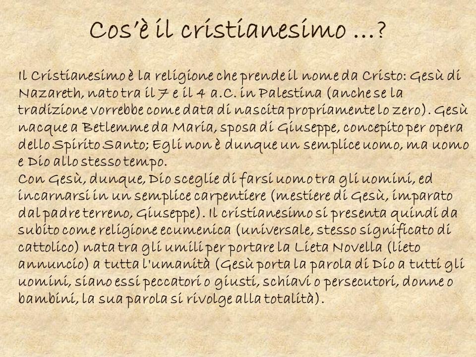 Cosè il cristianesimo …? Il Cristianesimo è la religione che prende il nome da Cristo: Gesù di Nazareth, nato tra il 7 e il 4 a.C. in Palestina (anche
