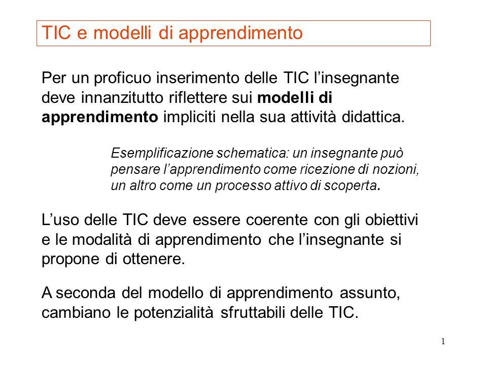 2 Ecco alcune affinità tra particolari modelli di apprendimento e potenzialità delle TIC 1.