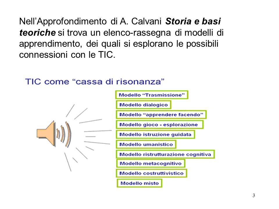 3 NellApprofondimento di A. Calvani Storia e basi teoriche si trova un elenco-rassegna di modelli di apprendimento, dei quali si esplorano le possibil