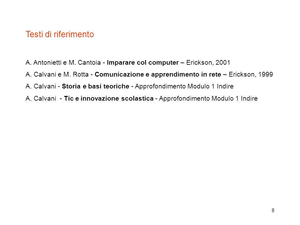 8 Testi di riferimento A. Antonietti e M. Cantoia - Imparare col computer – Erickson, 2001 A. Calvani e M. Rotta - Comunicazione e apprendimento in re