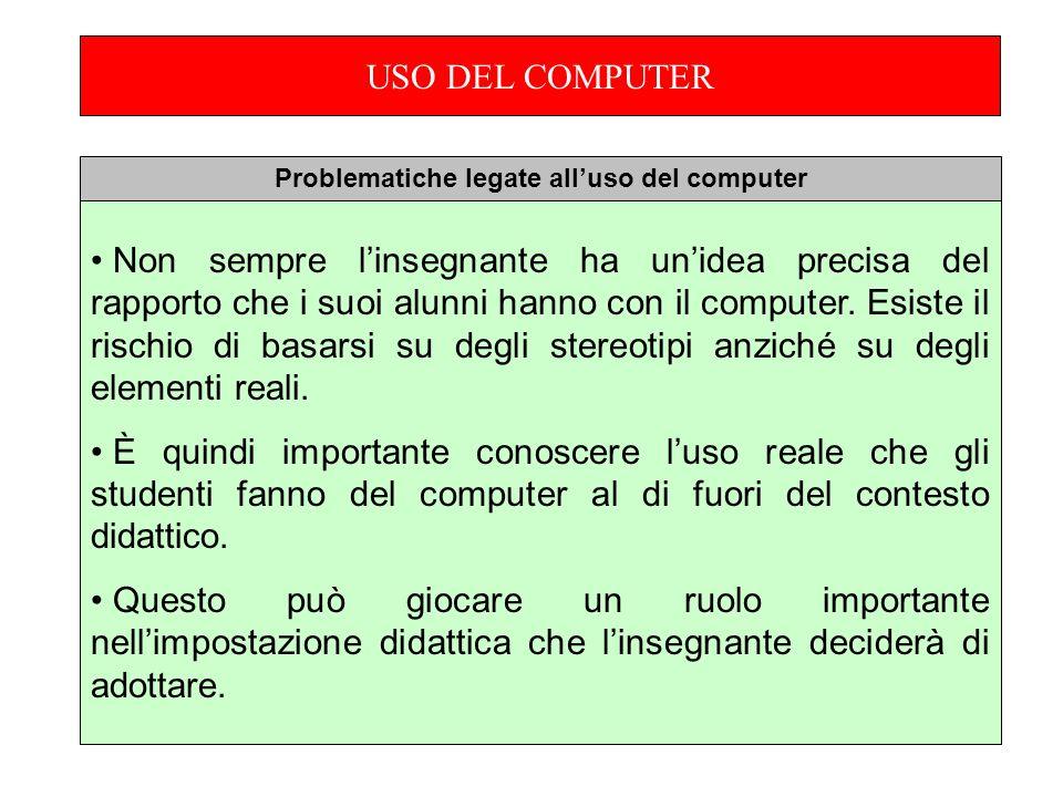 USO DEL COMPUTER Non sempre linsegnante ha unidea precisa del rapporto che i suoi alunni hanno con il computer.