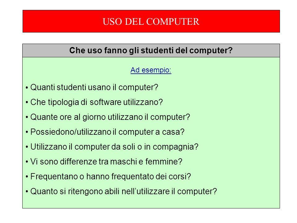 Ad esempio: Quanti studenti usano il computer. Che tipologia di software utilizzano.