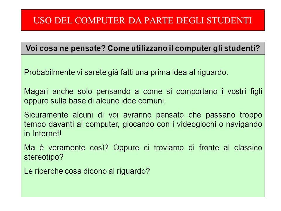 USO DEL COMPUTER DA PARTE DEGLI STUDENTI Probabilmente vi sarete già fatti una prima idea al riguardo.