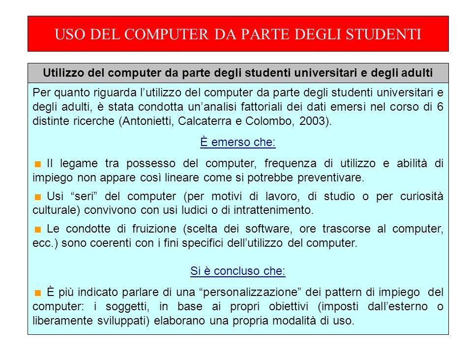 USO DEL COMPUTER DA PARTE DEGLI STUDENTI Per quanto riguarda lutilizzo del computer da parte degli studenti universitari e degli adulti, è stata condotta unanalisi fattoriali dei dati emersi nel corso di 6 distinte ricerche (Antonietti, Calcaterra e Colombo, 2003).