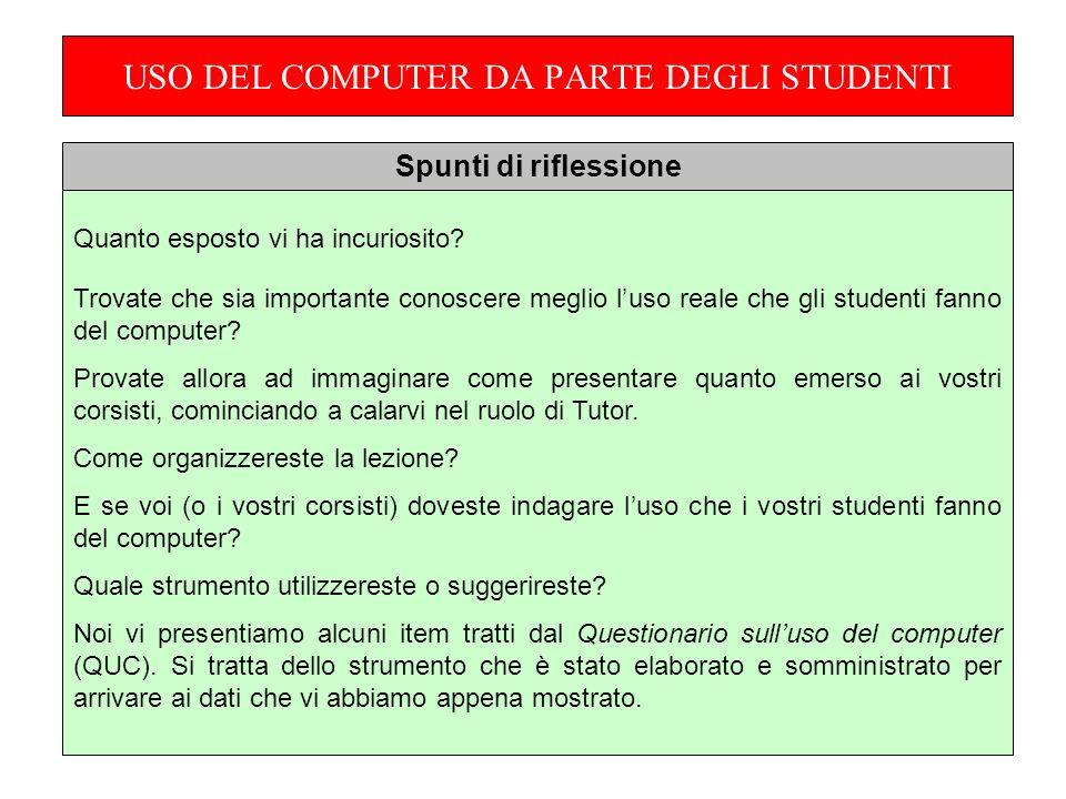 USO DEL COMPUTER DA PARTE DEGLI STUDENTI Quanto esposto vi ha incuriosito.