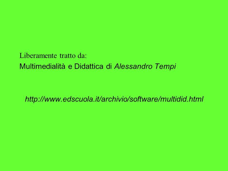 Liberamente tratto da: Multimedialità e Didattica di Alessandro Tempi http://www.edscuola.it/archivio/software/multidid.html