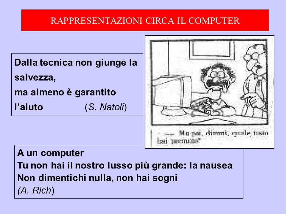 RAPPRESENTAZIONI CIRCA IL COMPUTER A un computer Tu non hai il nostro lusso più grande: la nausea Non dimentichi nulla, non hai sogni (A.