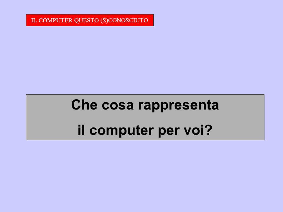 IL COMPUTER QUESTO (S)CONOSCIUTO Che cosa rappresenta il computer per voi?