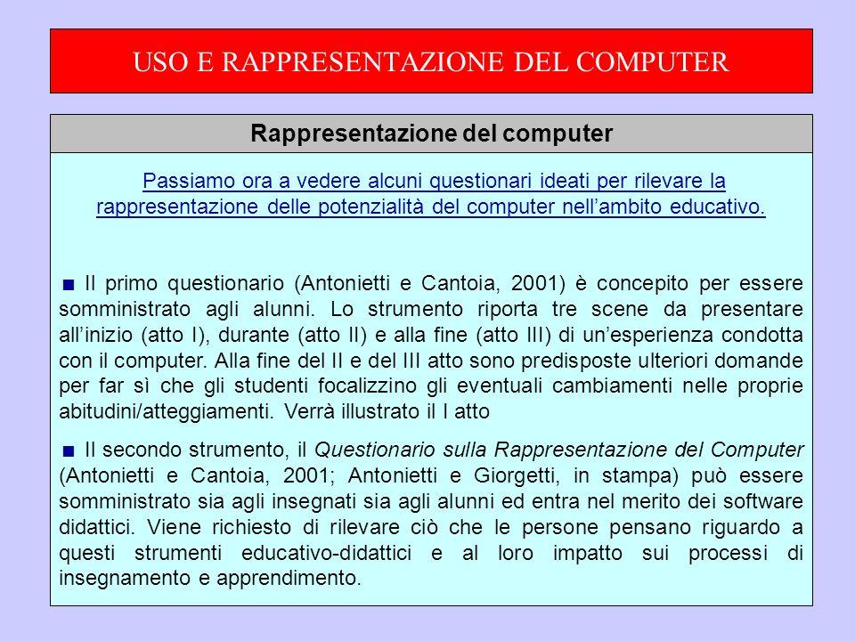 USO E RAPPRESENTAZIONE DEL COMPUTER Passiamo ora a vedere alcuni questionari ideati per rilevare la rappresentazione delle potenzialità del computer nellambito educativo.