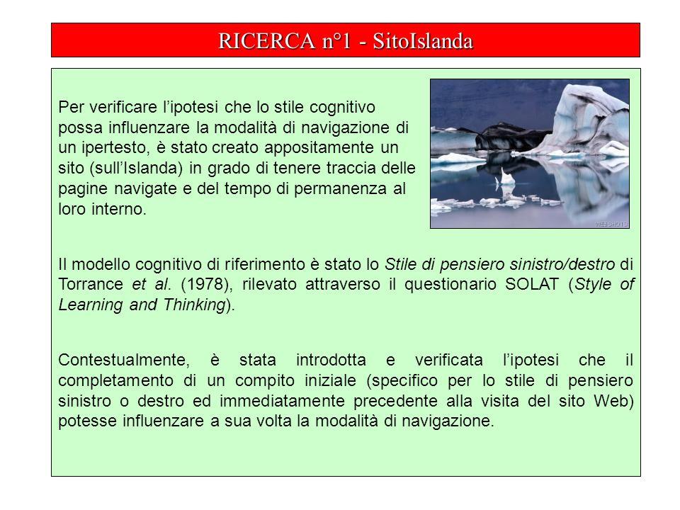 RICERCA n°1 - SitoIslanda Per verificare lipotesi che lo stile cognitivo possa influenzare la modalità di navigazione di un ipertesto, è stato creato appositamente un sito (sullIslanda) in grado di tenere traccia delle pagine navigate e del tempo di permanenza al loro interno.