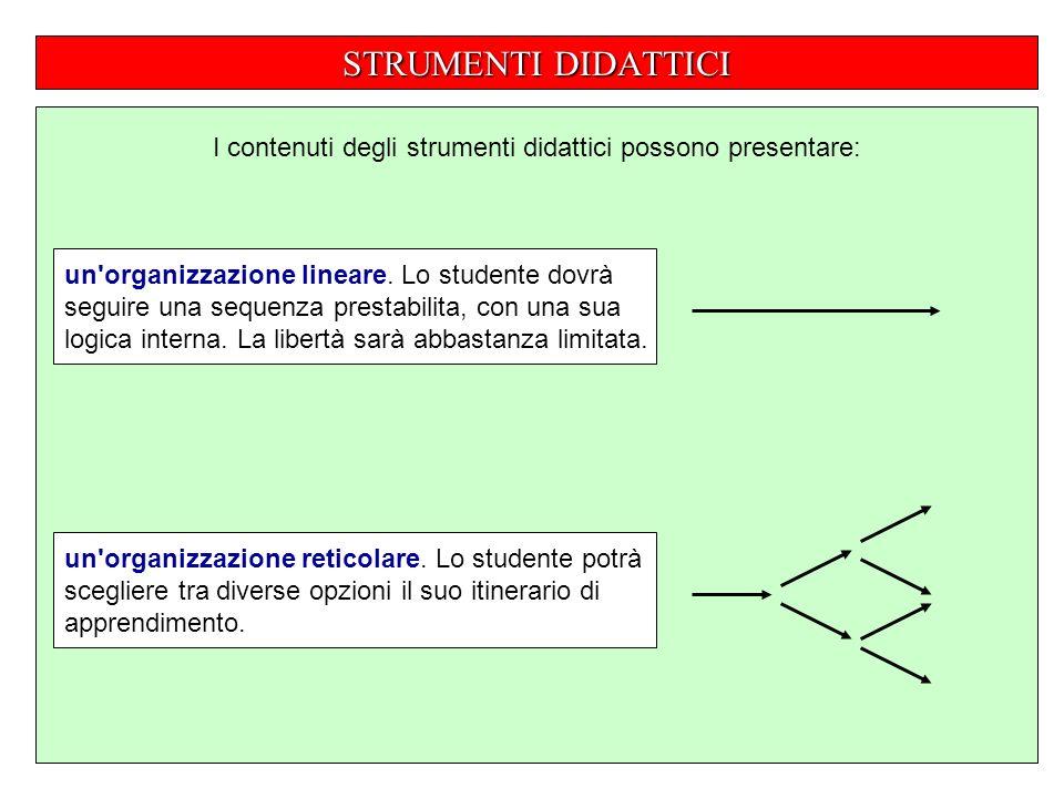 STRUMENTI DIDATTICI I contenuti degli strumenti didattici possono presentare: un organizzazione lineare.