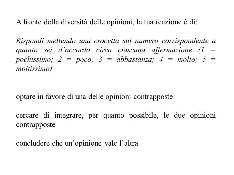 A fronte della diversità delle opinioni, la tua reazione è di: Rispondi mettendo una crocetta sul numero corrispondente a quanto sei daccordo circa ciascuna affermazione (1 = pochissimo; 2 = poco; 3 = abbastanza; 4 = molto; 5 = moltissimo) optare in favore di una delle opinioni contrapposte cercare di integrare, per quanto possibile, le due opinioni contrapposte concludere che unopinione vale laltra