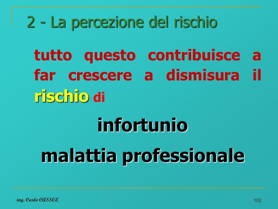 ing. Carlo CASSOL 102 2 - La percezione del rischio rischio tutto questo contribuisce a far crescere a dismisura il rischio diinfortunio malattia prof