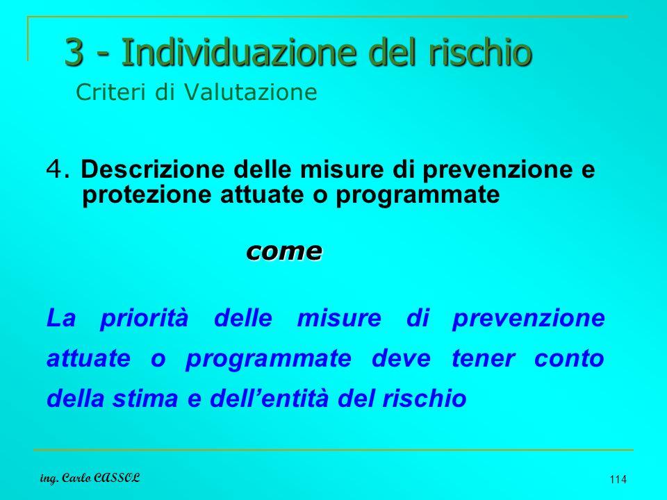 ing. Carlo CASSOL 114 3 - Individuazione del rischio 3 - Individuazione del rischio Criteri di Valutazione 4. Descrizione delle misure di prevenzione