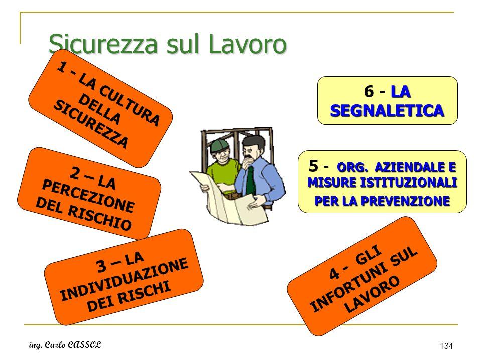 ing. Carlo CASSOL 134 Sicurezza sul Lavoro 1 - LA CULTURA DELLA SICUREZZA 2 – LA PERCEZIONE DEL RISCHIO 3 – LA INDIVIDUAZIONE DEI RISCHI 4 - GLI INFOR