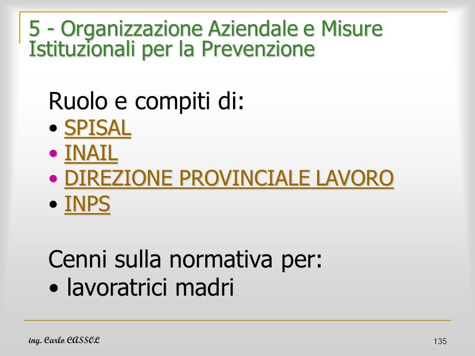 ing. Carlo CASSOL 135 5 - Organizzazione Aziendale e Misure Istituzionali per la Prevenzione Ruolo e compiti di: SPISAL INAIL INAILINAIL DIREZIONE PRO