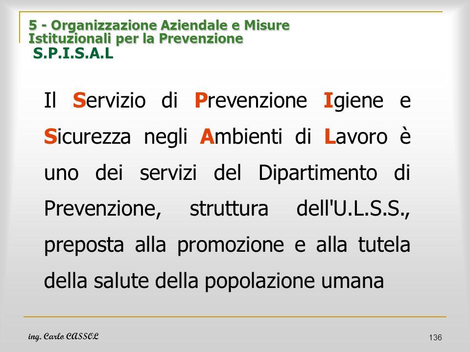 ing. Carlo CASSOL 136 5 - Organizzazione Aziendale e Misure Istituzionali per la Prevenzione 5 - Organizzazione Aziendale e Misure Istituzionali per l