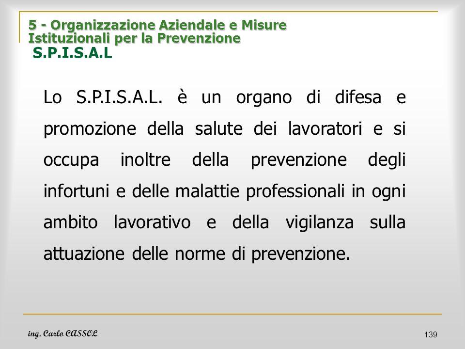 ing. Carlo CASSOL 139 5 - Organizzazione Aziendale e Misure Istituzionali per la Prevenzione 5 - Organizzazione Aziendale e Misure Istituzionali per l