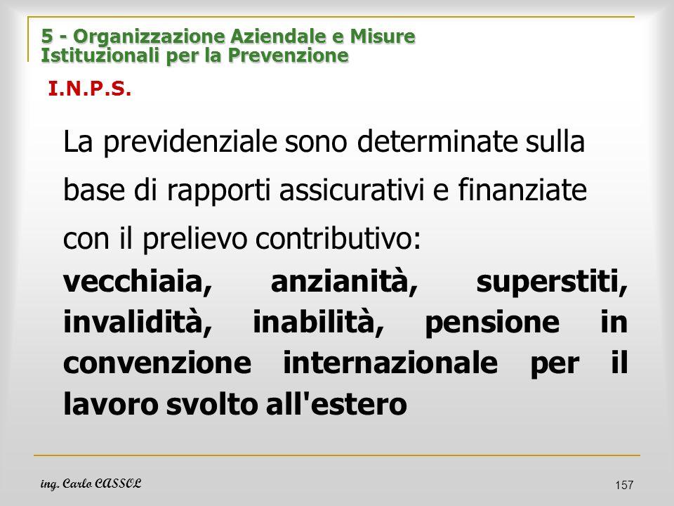 ing. Carlo CASSOL 157 5 - Organizzazione Aziendale e Misure Istituzionali per la Prevenzione 5 - Organizzazione Aziendale e Misure Istituzionali per l