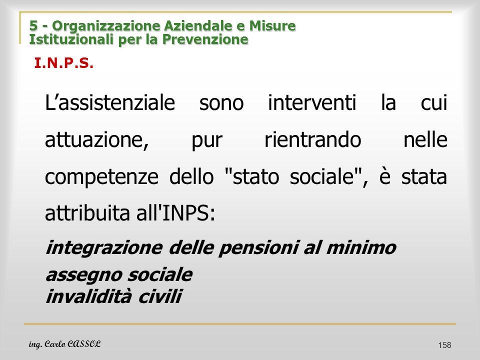 ing. Carlo CASSOL 158 5 - Organizzazione Aziendale e Misure Istituzionali per la Prevenzione 5 - Organizzazione Aziendale e Misure Istituzionali per l