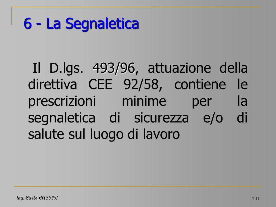 ing. Carlo CASSOL 161 6 - La Segnaletica 493/96 Il D.lgs. 493/96, attuazione della direttiva CEE 92/58, contiene le prescrizioni minime per la segnale