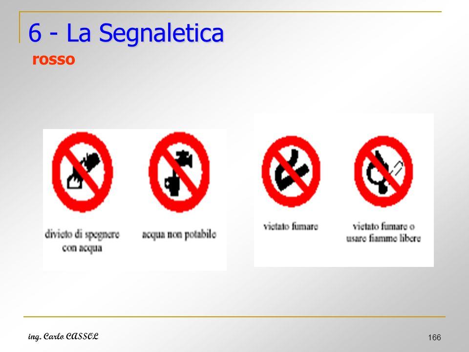 ing. Carlo CASSOL 166 6 - La Segnaletica 6 - La Segnaletica rosso