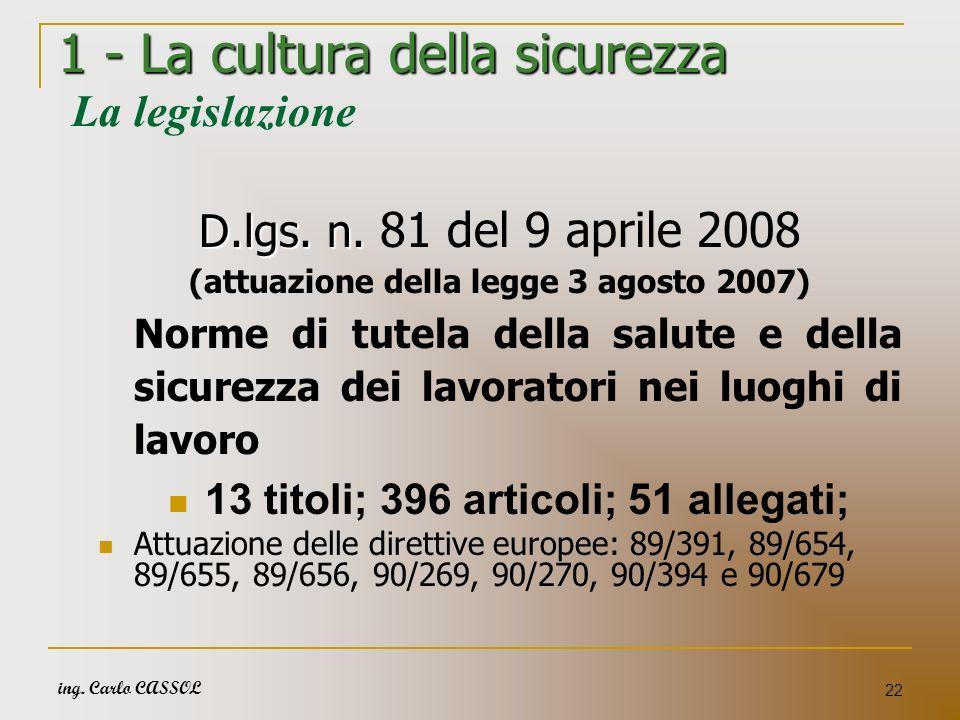 ing. Carlo CASSOL 22 1 - La cultura della sicurezza 1 - La cultura della sicurezza La legislazione D.lgs. n. D.lgs. n. 81 del 9 aprile 2008 (attuazion