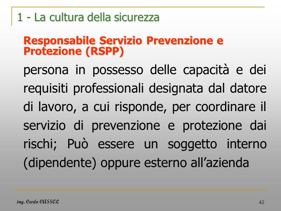 ing. Carlo CASSOL 42 1 - La cultura della sicurezza Responsabile Servizio Prevenzione e Protezione (RSPP) persona in possesso delle capacità e dei req